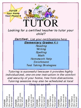 Customizable Tutoring Flyer | Tutoring business, School and Math