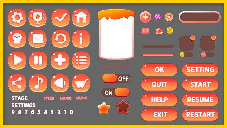 Puzzle stage & settings GUI Pack 2D GUI Unity Asset