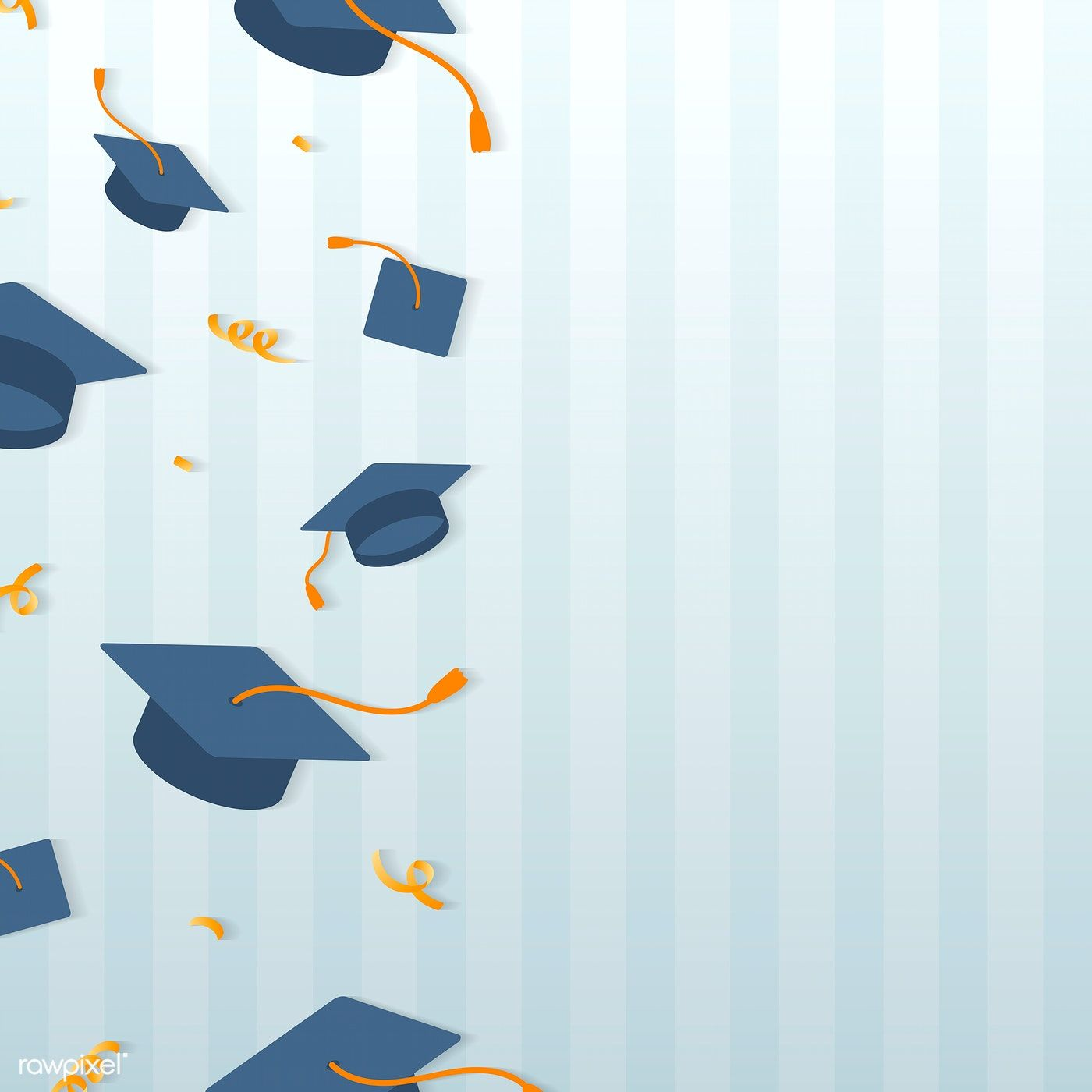 Graduation Background With Mortar Boards Vector Free Image By