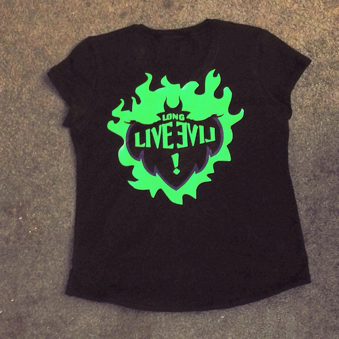Long Live Evil Descendants Shirt Black Shirt With Fluorescent Green Htv Fire Black And Purple Htv For M Inspirational Shirt Shirt Designs Tshirt Designs