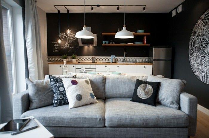 wohnideen wohnzimmer helles sofa dunkelgraue wände offener - wohnzimmer mit offener küche gestalten