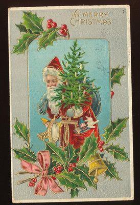Old World SANTA CLAUS Gilt Tree Holly Vintage Christmas Postcard-German-ggg43