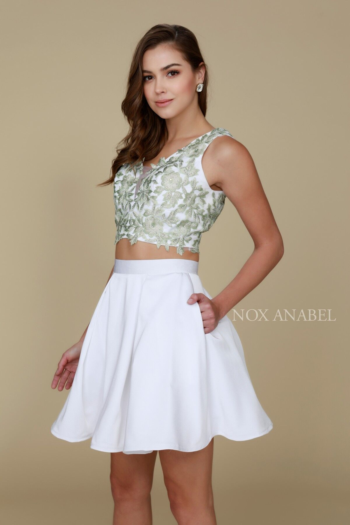 77a0c15048bf3 Short Homecoming Two Piece Set Prom Dress - The Dress Outlet Nox Anabel