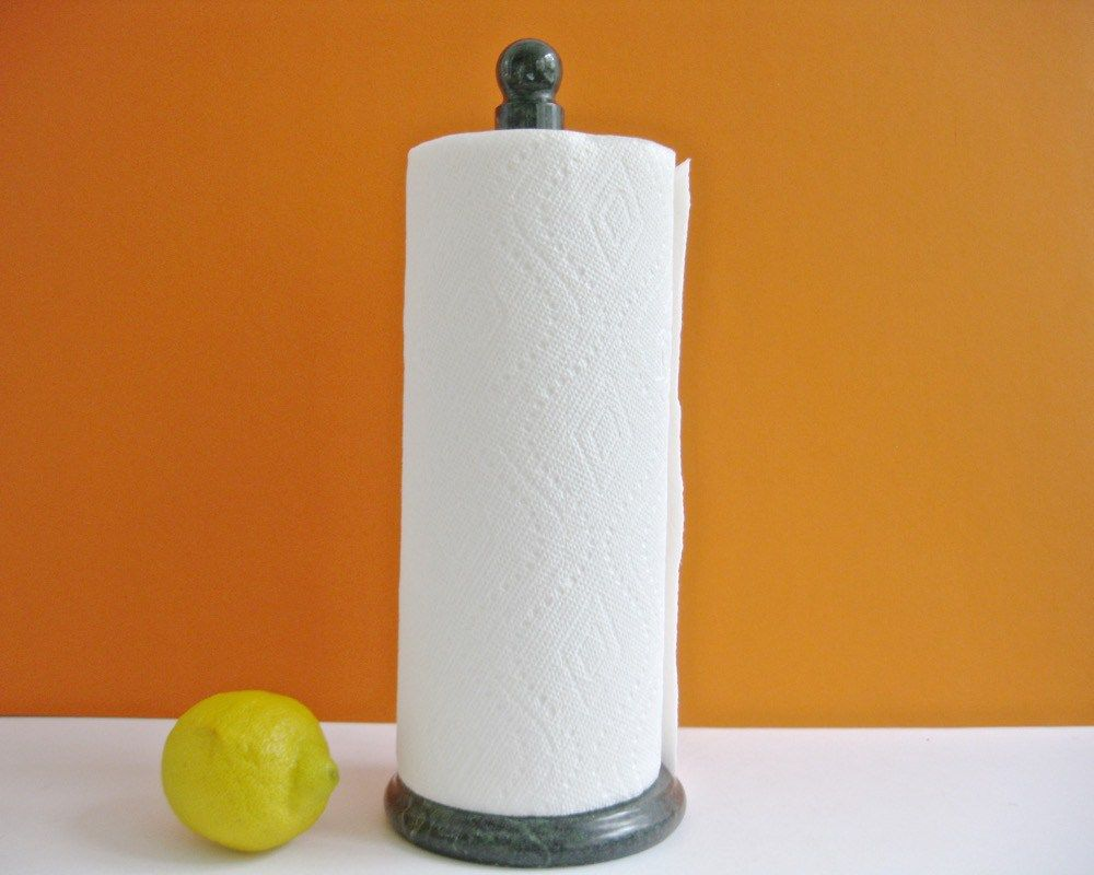 Green Marble Paper Towel Holder Vintage Old Like New 1970s