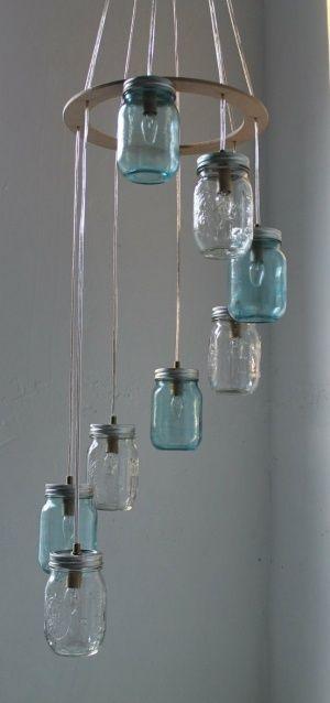 Lampadari Fatti Con Bottiglie Di Vetro.Lampadari Fai Da Te Diy Barattolo Di Vetro A