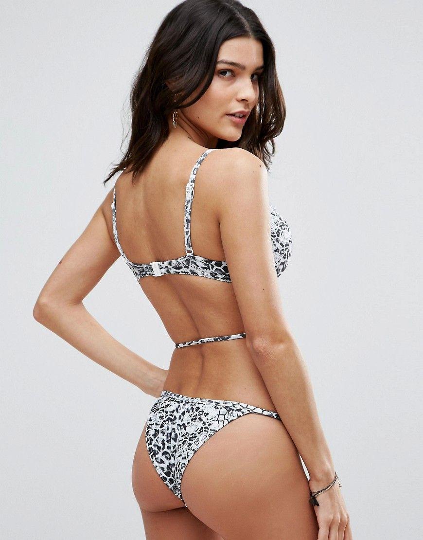 d2f9b85ba8df Discover fashion online. ASOS Mono Animal Print Push Up Plunge Bikini Top -  Multi Swimsuits, Bikinis, Swimwear