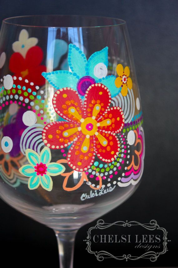 Painted Flowers Wine Glass Painted in Four Colors Beautiful Cherry Blossom Flowers Design Sold Separate Painted Mother/'s Day Wine Glass