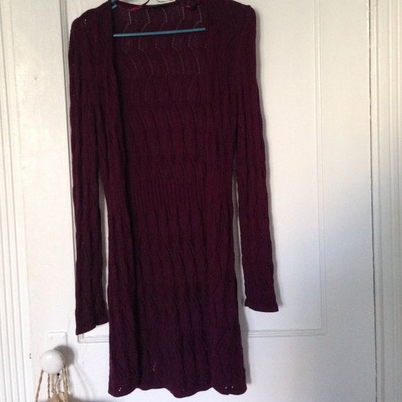 Long Open Cardigan - Deep Plum |Gently Worn| Long, Open Cardigan, Knitted, Full Sleeves, 100% Cotton. Add Some Color to Your Everyday Look! **BUNDLES OFFERED, ALL PRICES ARE NEGOTIABLE** Lerros Jackets & Coats
