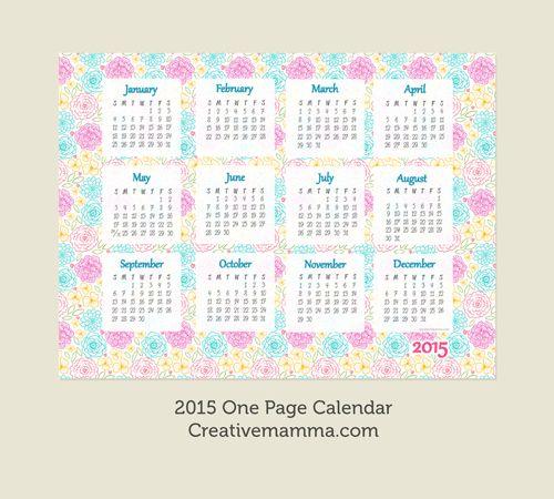 Calendar Printable One Page