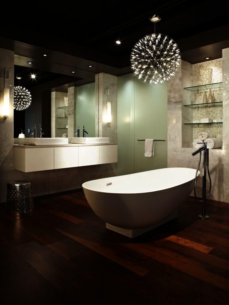 Wood and white bathroom freestanding tub wall mounted vanity