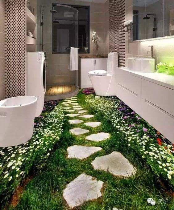Waldweg Im Badezimmer Krasse Fussbodengestaltung Farben Und Tapeten Tapeten 3d Tapete