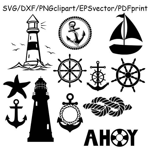 Nautical Silhouette Svg Sail Boat Lighthouse Sail Knot Anchor Boat Silhouette Lighthouse Drawing Svg