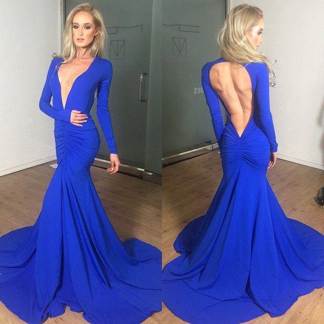 Sexy Royal Blue Backless Mermaid Dr | Sexy, Instagram and Cheap shoes