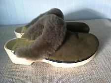 SVEN SWEDISH CLOGS 37 NO.6 SHEARLING FUR SUEDE GREEN FAUX WOOD NWOT
