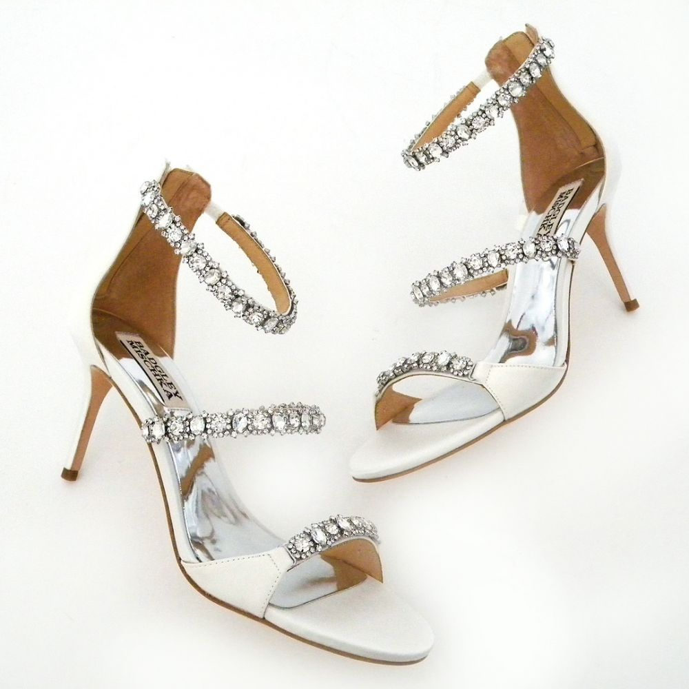 500a573a97b4 Triple the sparkle with three crystal encrusted straps on these Hollywood  Glam bridal sandals by Badgley Mischka.
