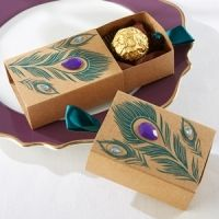 Jeweled Peacock Kraft Favor Boxes (Set of 24)