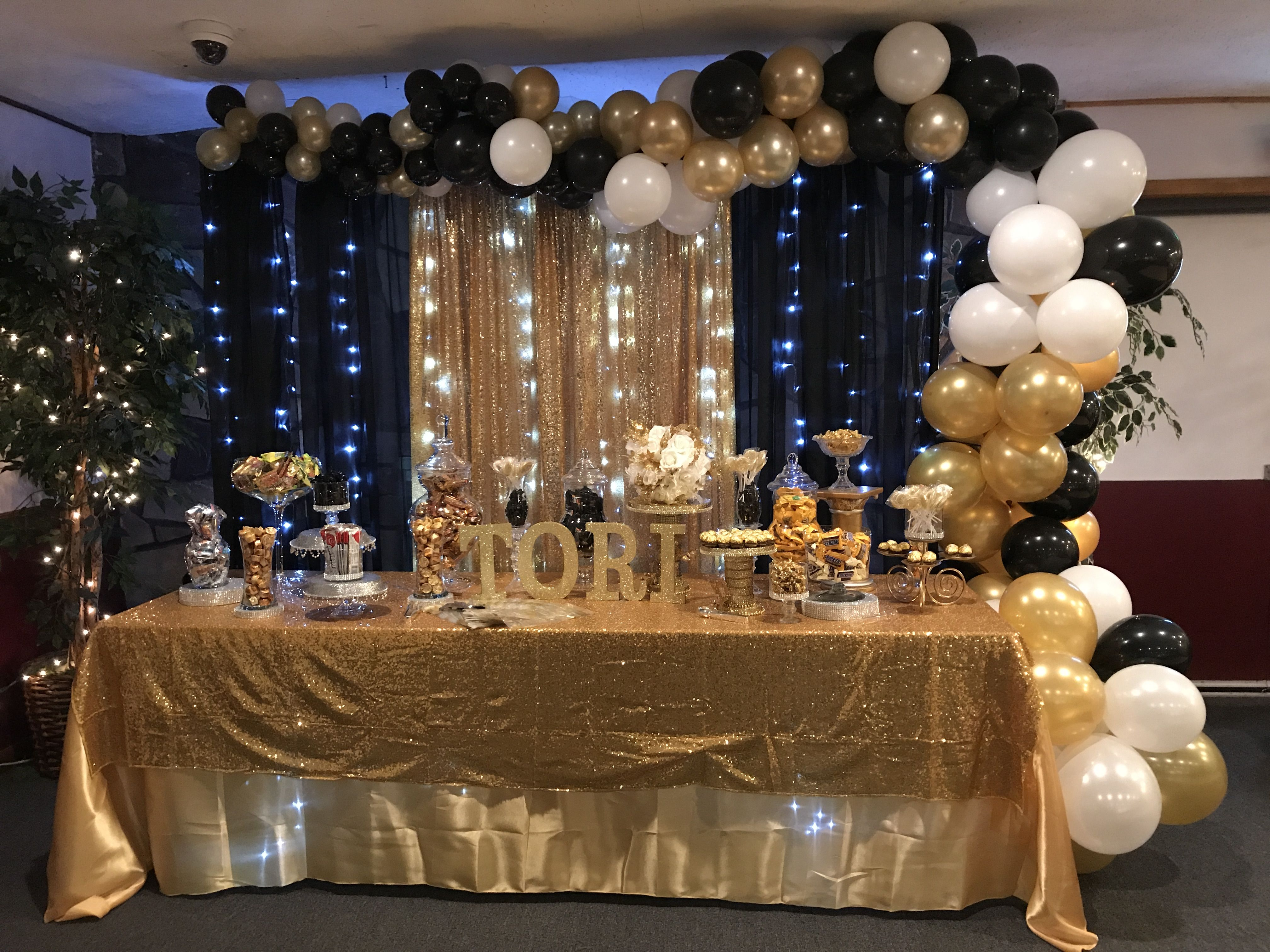 Black And Gold Organic Balloon Arch Gold Party Birthday Party
