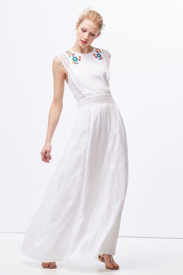 Cortefiel Vestido largo bordado Blanco  cc545dbe1bb