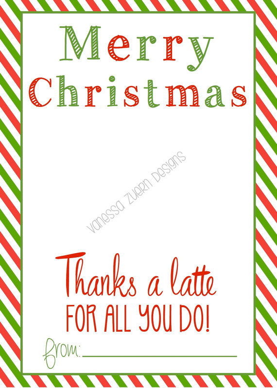 image regarding Thanks a Latte Printable Tag identify Because of A Latte Xmas by way of VanessaZuernDesigns upon Etsy