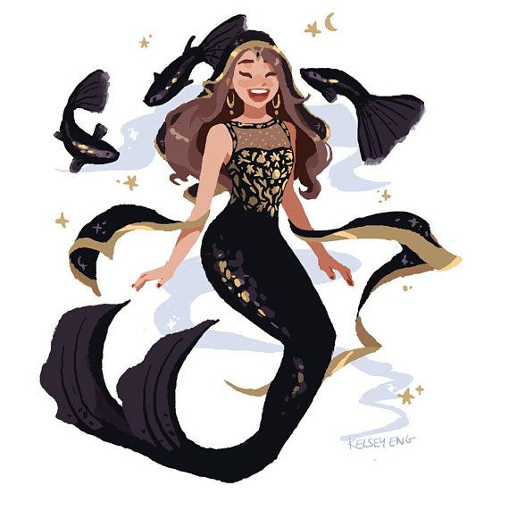 A Little Mermaid Doodle After A Long Day Of Work I Haven: Bollywood Mermie Prints- Individual & Set