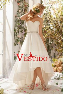 2014 cariño acanalada blusa Un vestido de boda con la Línea de Alta Baja Organza Falda con cuentas Cintura US$ 179.99 VEPTMLPEAM - 2016vestido.com
