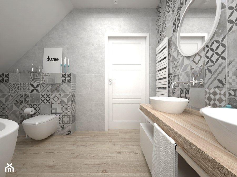 Projekt poddasza Średnia łazienka na poddaszu styl skandynawski