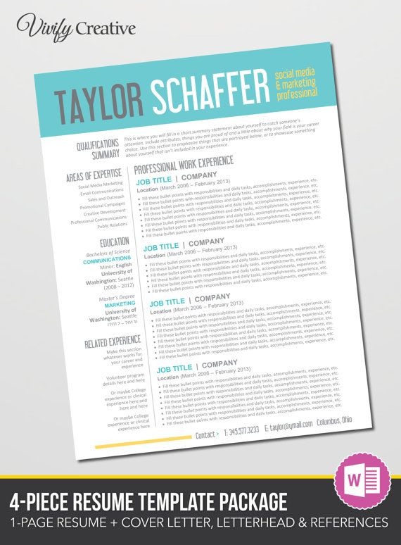 Resume Template Editable Download Cover Letter By Vivifycreative