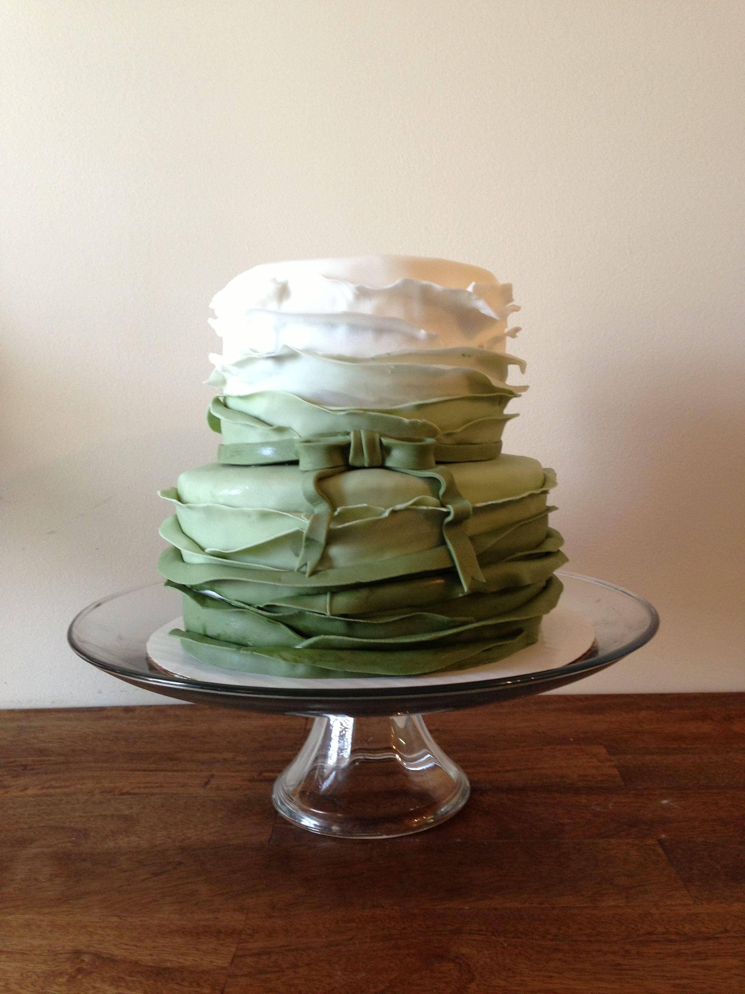 Green ombré ruffle cake