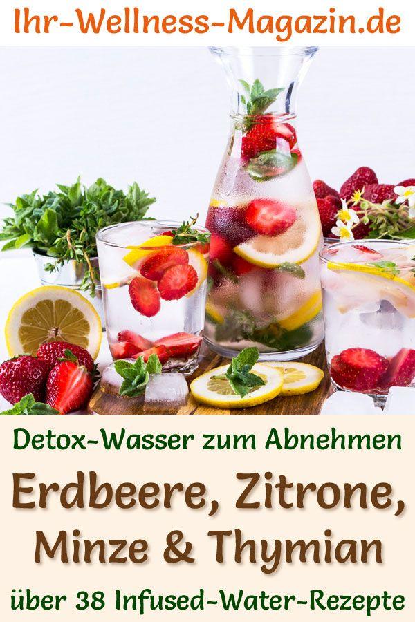 Erdbeer-Zitronen-Minze-Thymian-Wasser - Rezept für Infused Water - Detox-Wasser