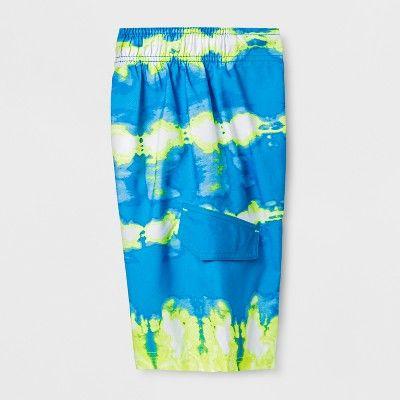b76c4cdf59f91 Boys' Twist Dye Yellow Dash Swim Trunks - Cat & Jack™ Blue M ...