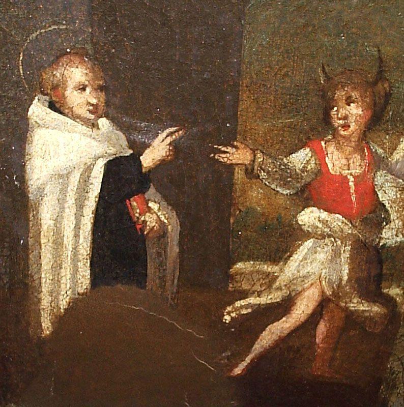 Sant'Alberto da Trapani: GIOVANNI ALVINO, Sant'Alberto è tentato da Satana sotto le sembianze di una fanciulla, particolare del quadro raffigurante il Santo (1602 c.), Trapani, Chiesa del Carmine