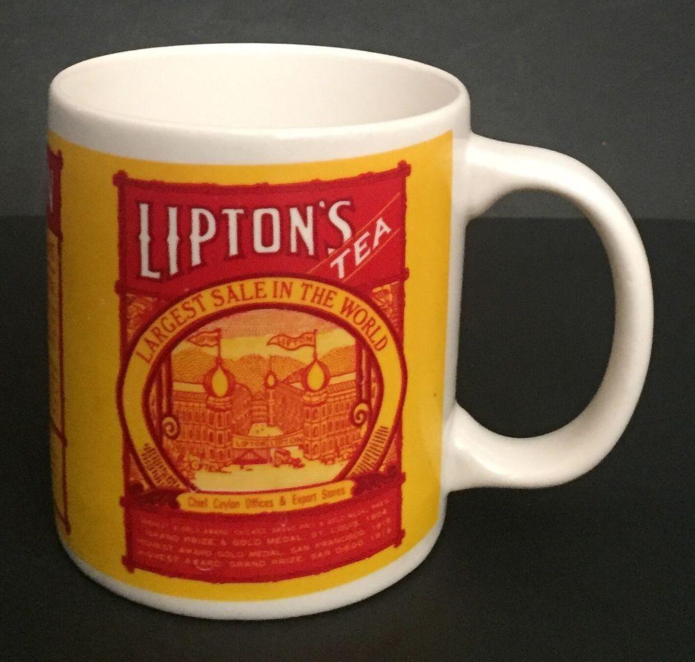 Vtg Lipton S Tea Mug Coffee Cup Old Brand Name Advertising Yellow Red White Ebay Mugs Tea Brands Tea Mugs