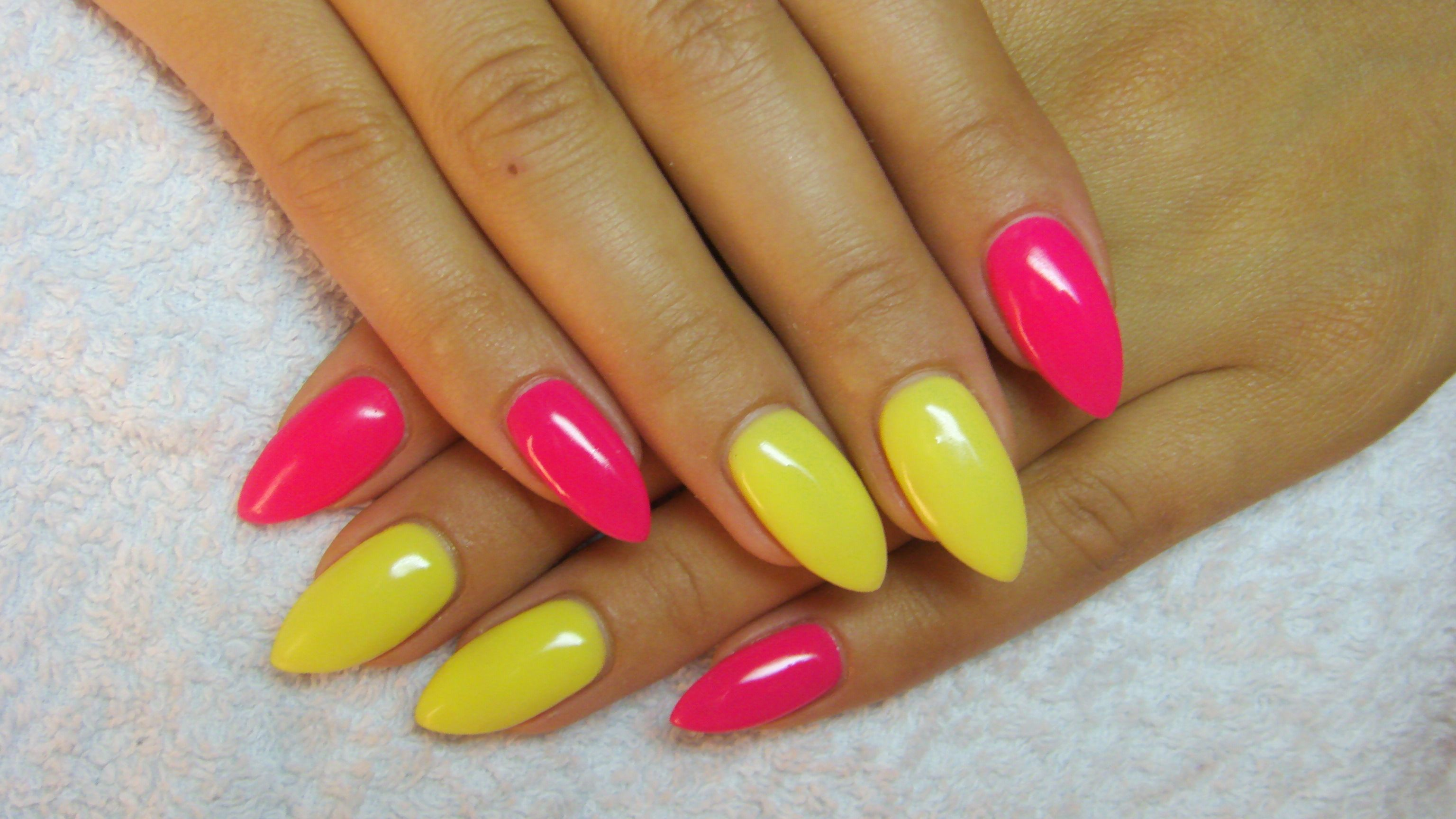 Yellow And Pink Nails Pink Nails Yellow Nails Pink Nail Art