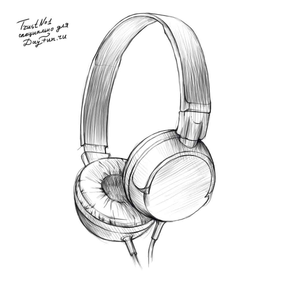 Headphone Pencil Drawing Black And White