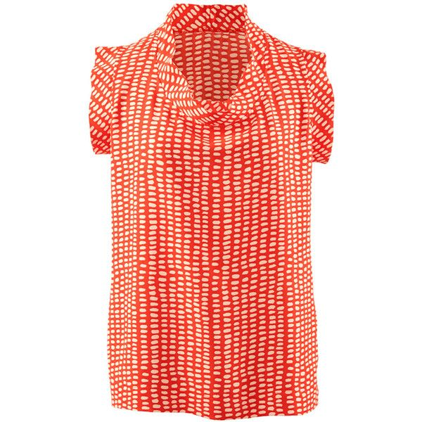 Printed Madeleine Top CAbi ❤ liked on Polyvore featuring tops, blouses, cabi, polka dot, dot blouse, polka dot blouse, cabi tops and red polka dot blouse