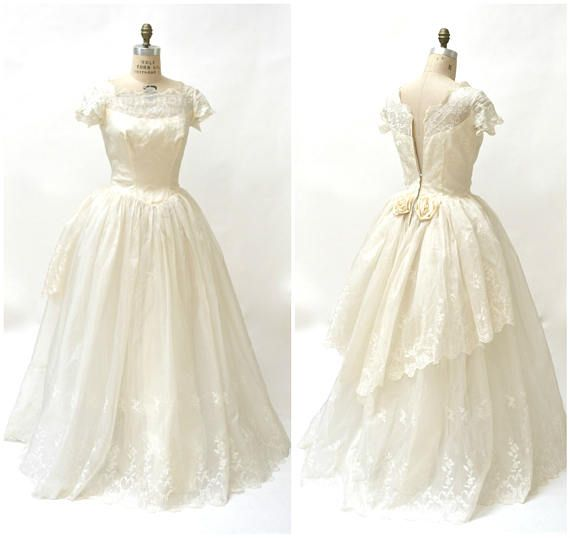 50s 60s Vintage Wedding Dress Gown Silk Size Small Medium ...