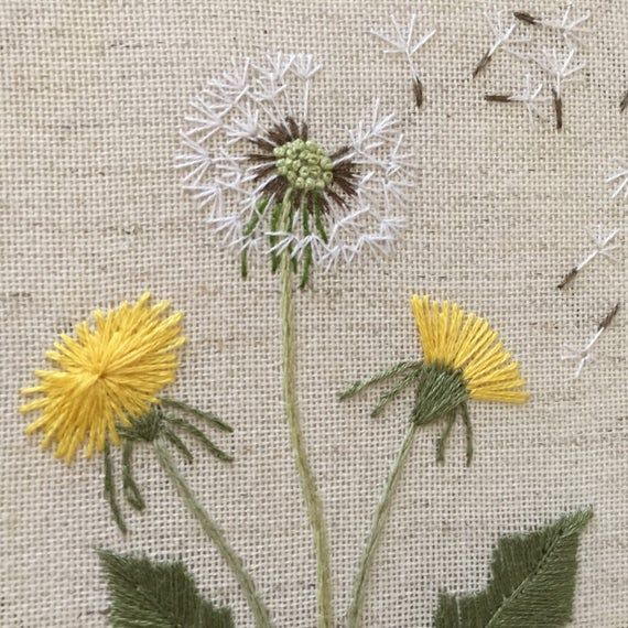 Botanical embroidery dandelion hoop art / Wildflowers fiber art gift for plants lover / Floral hand embroidered framed wall decor