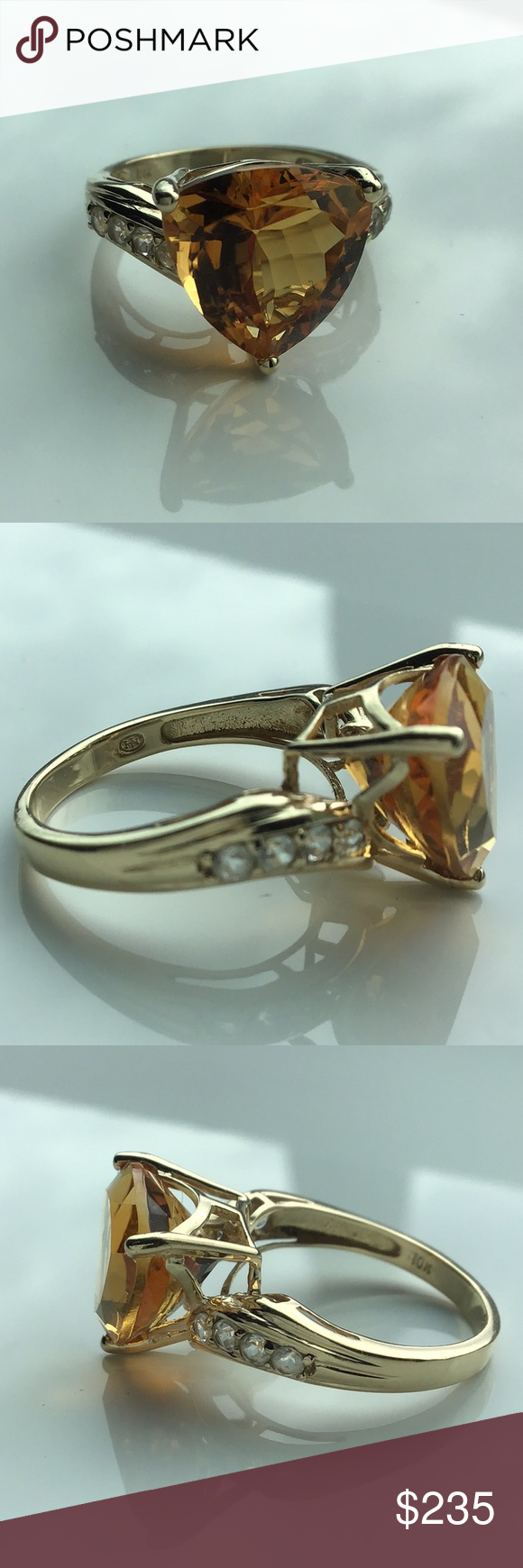 New Huge Tested 10k Citrine Ring In 2020 Womens Jewelry Rings Citrine Ring Women Jewelry