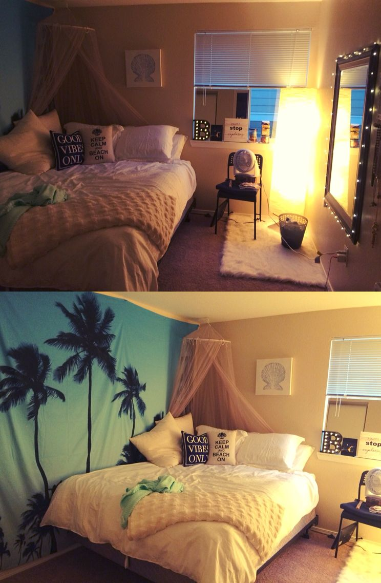 Beach themed bedroom perfect for a small apartment all items were bought from ikea walmart - Teen beach bedroom ideas ...