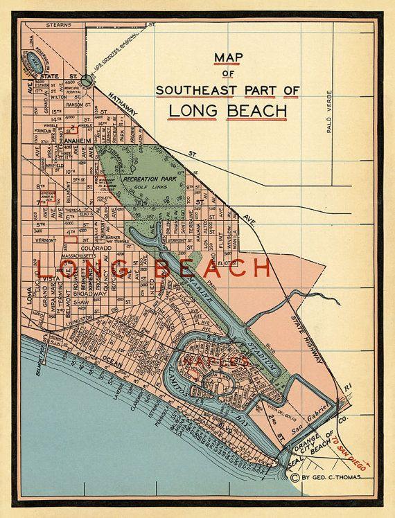 Long Beach California Old Map