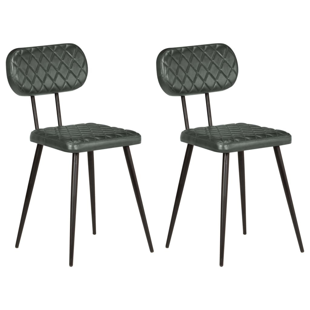vida XL Esszimmerstühle 2 Stk. Grau Echtleder