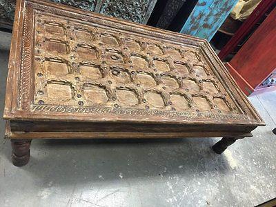 Antique indian door vintage brown coffee table hand carved vintage