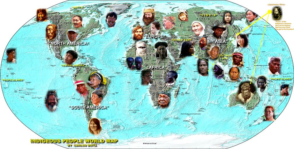 INDIGENOUS PEOPLE WORLD MAP by Carlos Mota - Aboriginal cultures - copy world map of america and europe