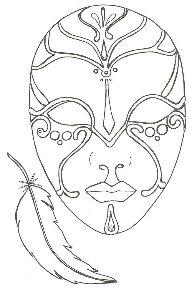 Coloriage le masque et la plume coloriages coloriage - Dessins de carnaval ...