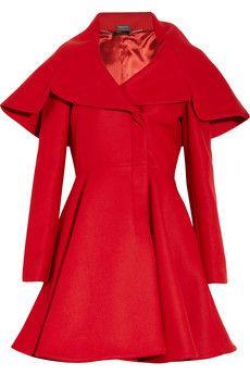 Red Wool-Felt Coat by Alexander McQueen