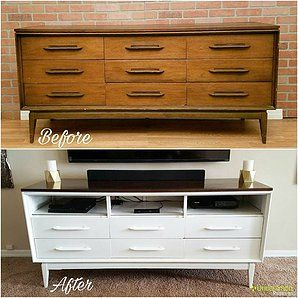 transformed mid century dresser into tv stand painted white and stained the top warm walnut