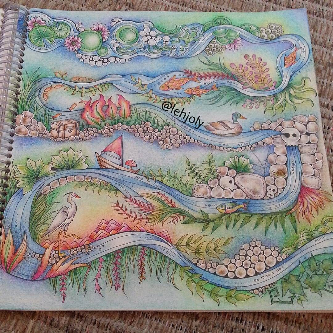 Enchanted forest coloring book website - Johanna Basford Coloring Book River Scene Enchanted Forest