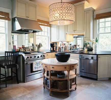 kitchen with antique table in the round used as an island. I love this but