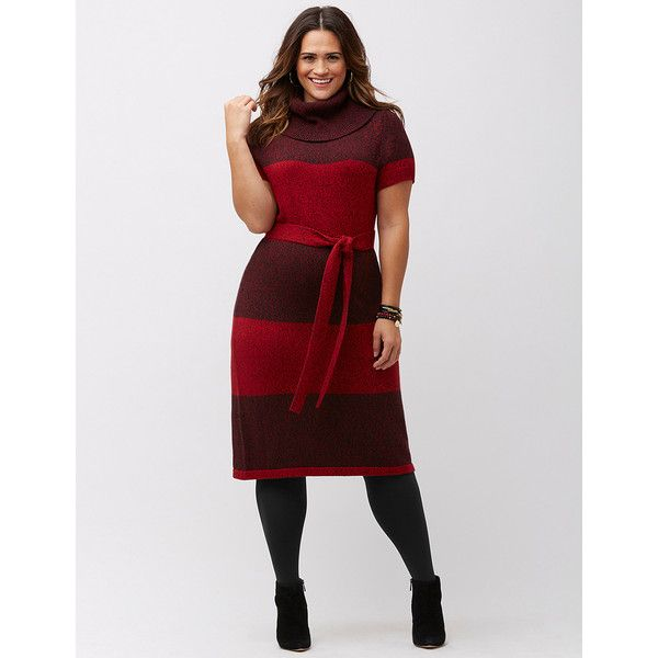 Plus Size Cowl Neck Sweater Dress 155 Bam Liked On Polyvore