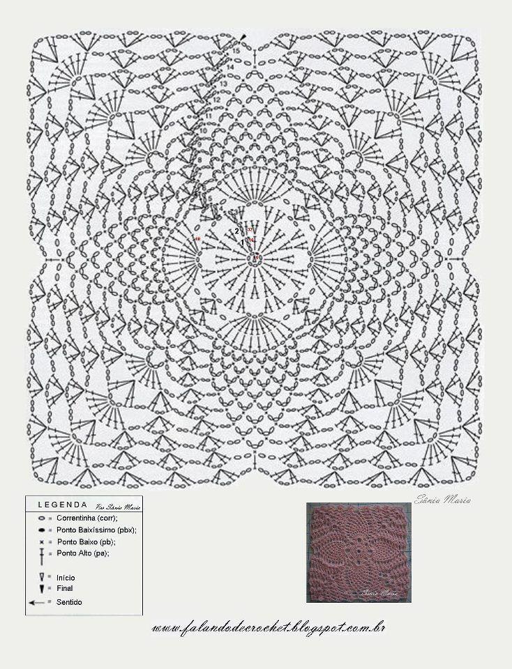 GREGOBLEN: MATTONELLE a uncinetto (schemi) | Figuras * Crochet ...